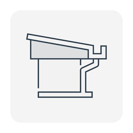 Gutter and drainage system icon, editable stroke. Ilustracja