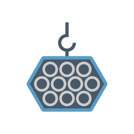 Crane hook and steel pipe vector icon design on white background.