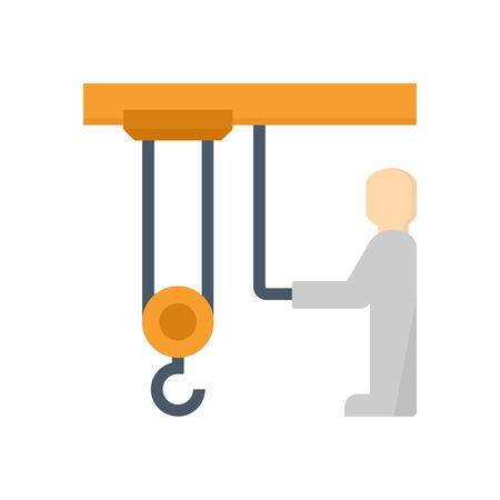 Overhead crane and operator vector icon design on white background.