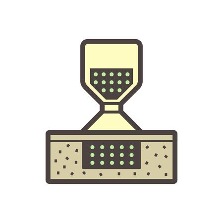 Soil testing by sand cone method vector icon design on white.