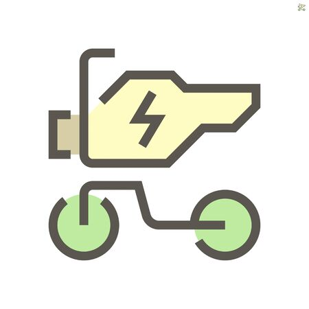 Electric motorcycle vector icon design, 48x48 pixel perfect and editable stroke.