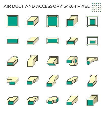 Air duct and accessory icon set, 64x64 perfect pixel and editable stroke.