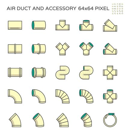 Air duct and accessory icon set, 64x64 perfect pixel and editable stroke. Vetores
