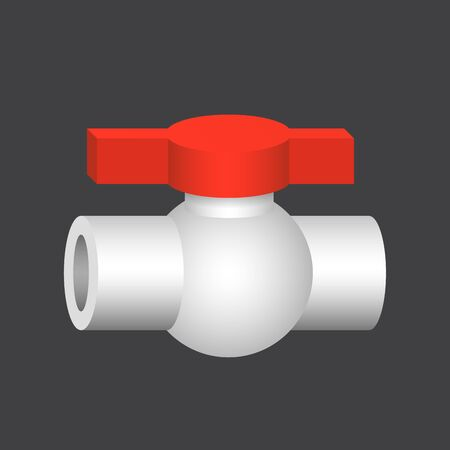 Vector icon of pipe fitting and valve control for plumbing and piping work. Vettoriali