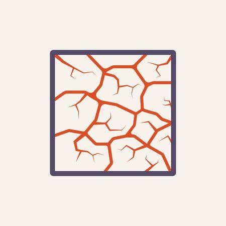 Vector icon of soil crack texture on white. Vetores