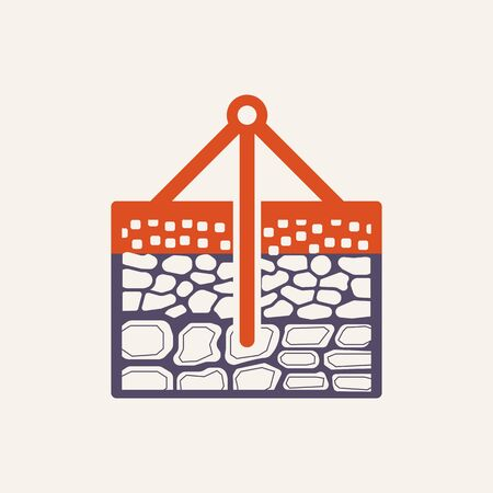 Soil and soil testing vector icon design on white.