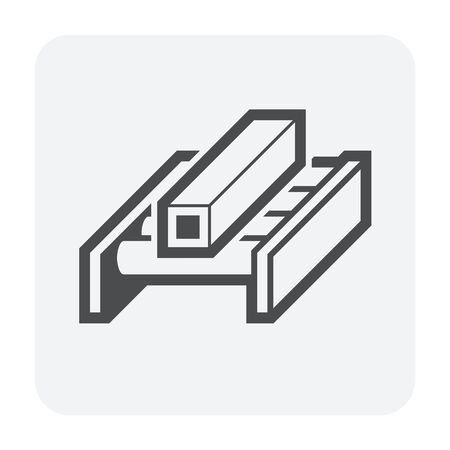 Steel pipe and production line vector icon design on white background. 向量圖像