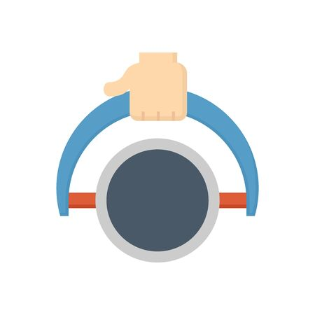 Steel pipe lab testing vector icon design on white background. Ilustracja