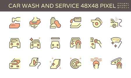 Car wash and service vector icon set design, 48x48 pixel perfect and editable stroke. Ilustração