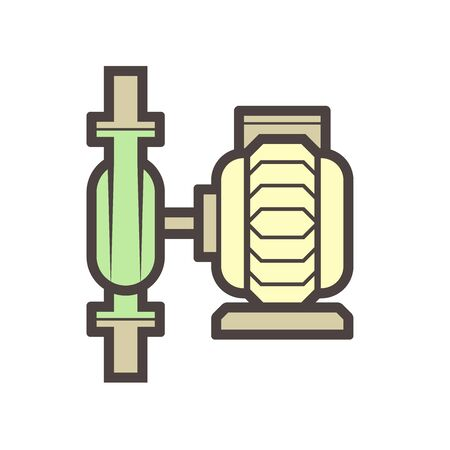 Water pump and water pipe vector icon design for distribution water. 向量圖像