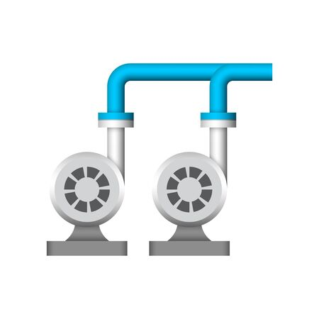Water pump and pipeline icon design. 向量圖像