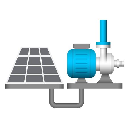 Water pump and solar energy icon design.