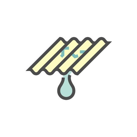 Roof tile damage and water leak vector icon design for home problem graphic design element, editable stroke.