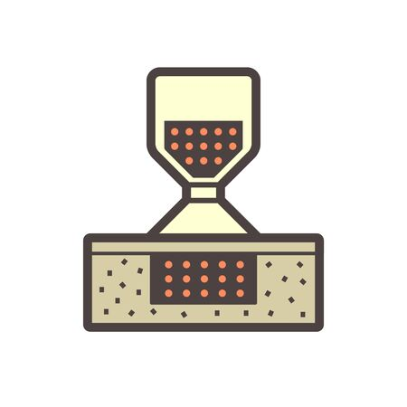 Soil testing by sand cone method vector icon design on white. Vetores