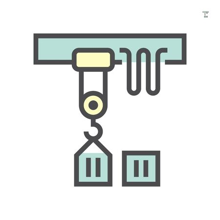 Overhead crane icon, 64x64 perfect pixel and editable stroke. Ilustracja