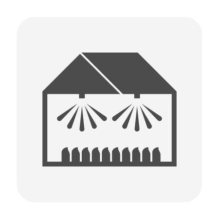 Greenhouse and sprinkler for agricultural work icon design. Imagens - 143874553