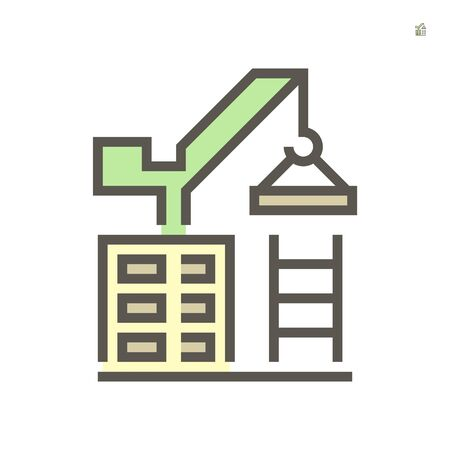 Tower crane icon, 64x64 perfect pixel and editable stroke.