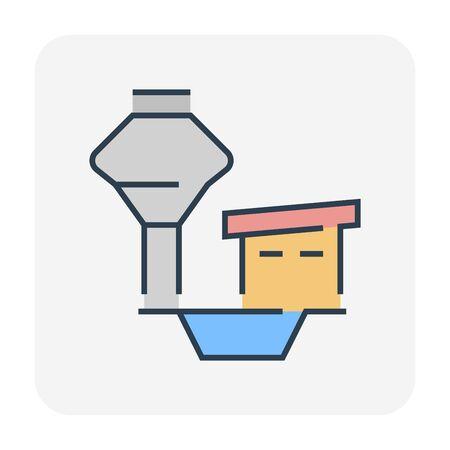 Water tank icon design, editable stroke.