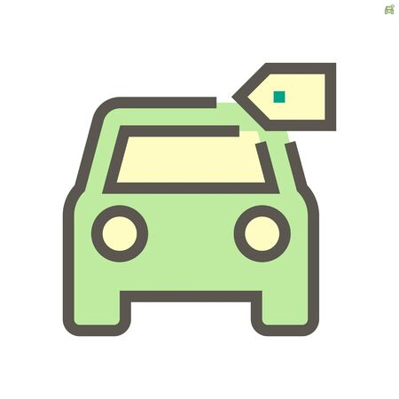 Car and price tag vector icon design, 48X48 pixel perfect and editable stroke.