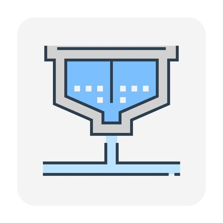 Water treatment tank and sediment icon, editable stroke. Ilustração