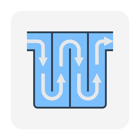 Water treatment and water filter icon, editable stroke.