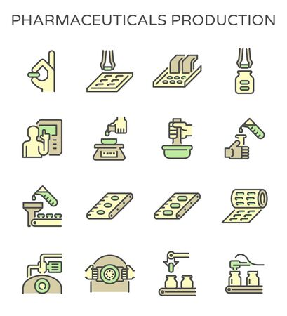 Pharmaceutical production and manufacturing vector icon set design, editable stroke.