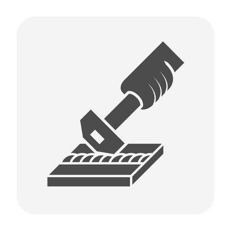 Welding joint and hammer vector icon design. Vectores