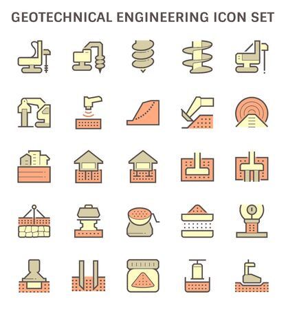 Geotechnical engineering and soil testing vector icon set design.