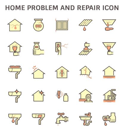 Home problem and repair service vector icon set design. Stock Illustratie