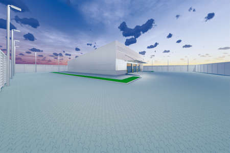 3d rendering of warehouse building and shutter door for industrial background.