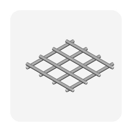 Vector icon of steel  rebar product vector icon design for steel production industrial graphic design element. Zdjęcie Seryjne - 144154256