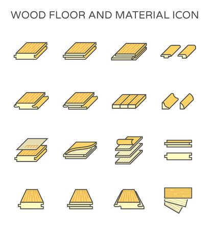Wood floor and material vector icon set design on white background. Иллюстрация
