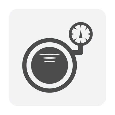 Steel pipe pressure testing vector icon design on white background.