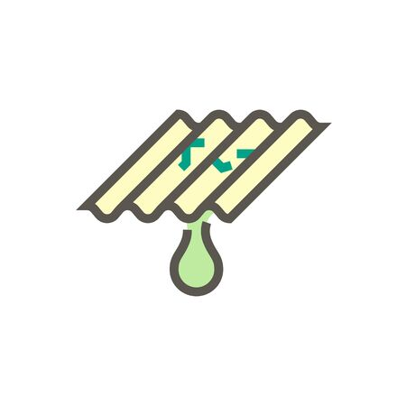 Roof tile damage and water leak vector icon design for home problem graphic design element, editable stroke. Illustration