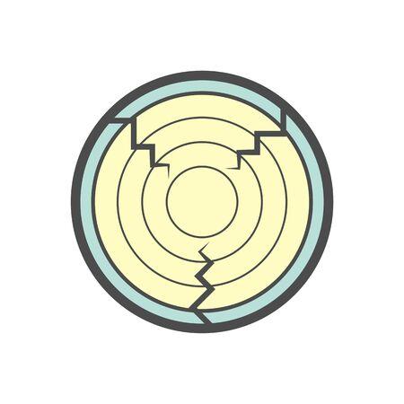 Holzmaterial und Sägewerk-Industrie-Vektor-Icon-Design auf weißem Hintergrund. Vektorgrafik