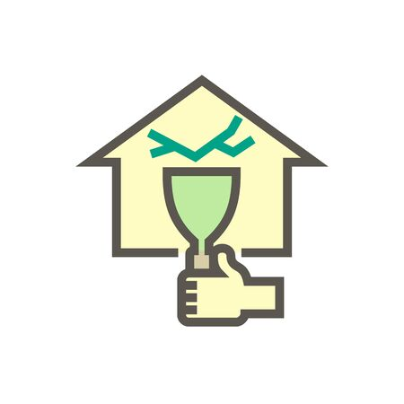 Wall of home crack and water leak vector icon for home problem graphic design element, editable stroke.