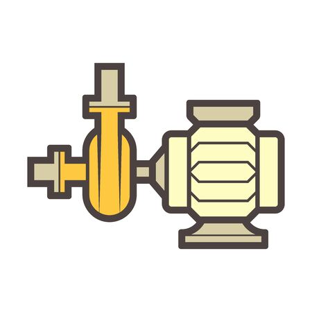 Water pump and water pipe vector icon design for distribution water.