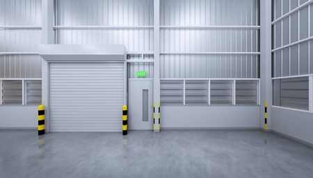 3d rendering of shutter door in warehouse building.