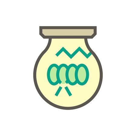 Light bulb damage vector icon design for home problem graphic design element, editable stroke.
