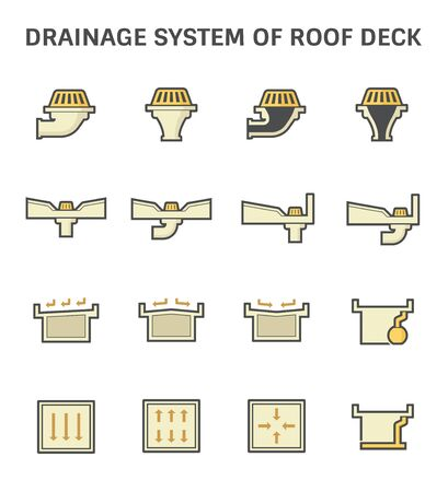 Roof deck and drainage equipment vector icon set design on white background.