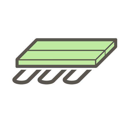 Wood floor heating material vector icon design. Векторная Иллюстрация