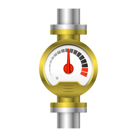 Pressure gauge meter design and steel pipe isolated on white background.