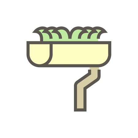 Gutter dirty vector icon design for home problem graphic design element, editable stroke.