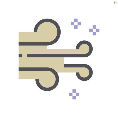 Wind and air pollution vector icon design, 48x48 pixel perfect and editable stroke.