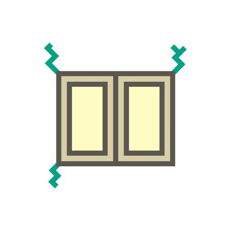 Wall and window crack vector icon design for home problem graphic design element, editable stroke.
