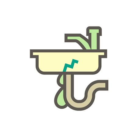 Water leak and repair work vector icon design for home problem graphic design element, editable stroke.