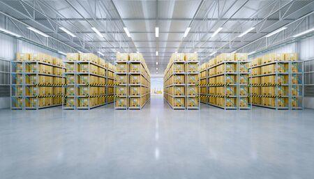 Rendu 3D du bâtiment de l'entrepôt et de l'emballage de la boîte dans l'étagère. Banque d'images