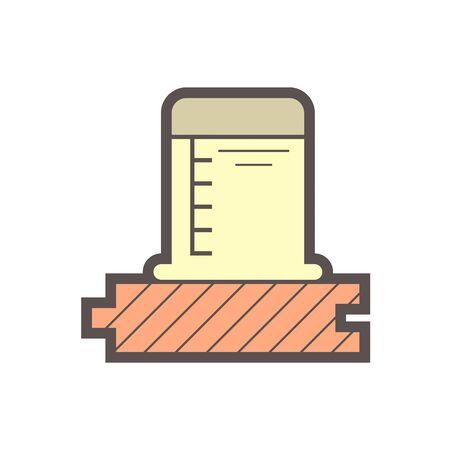 Wood floor production industry and testing vector icon design. Vektoros illusztráció
