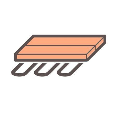 Wood floor heating material vector icon design.