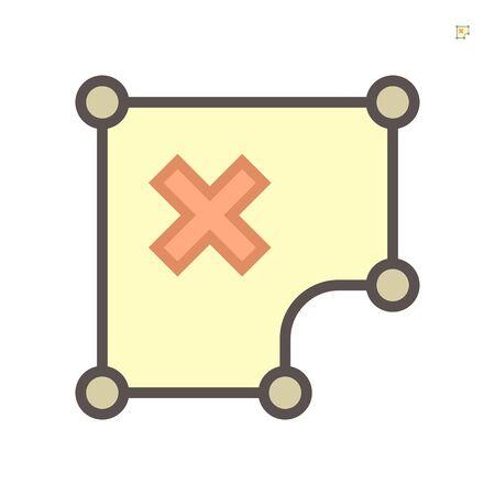 Conception d'icône vectorielle de zone de mauvaise forme, course parfaite et modifiable de 64x64 pixels. Vecteurs